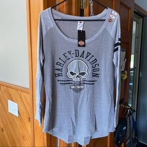 Harley-Davidson NWT Scoop Neck Ribbed Long Sleeve w/ Cuff